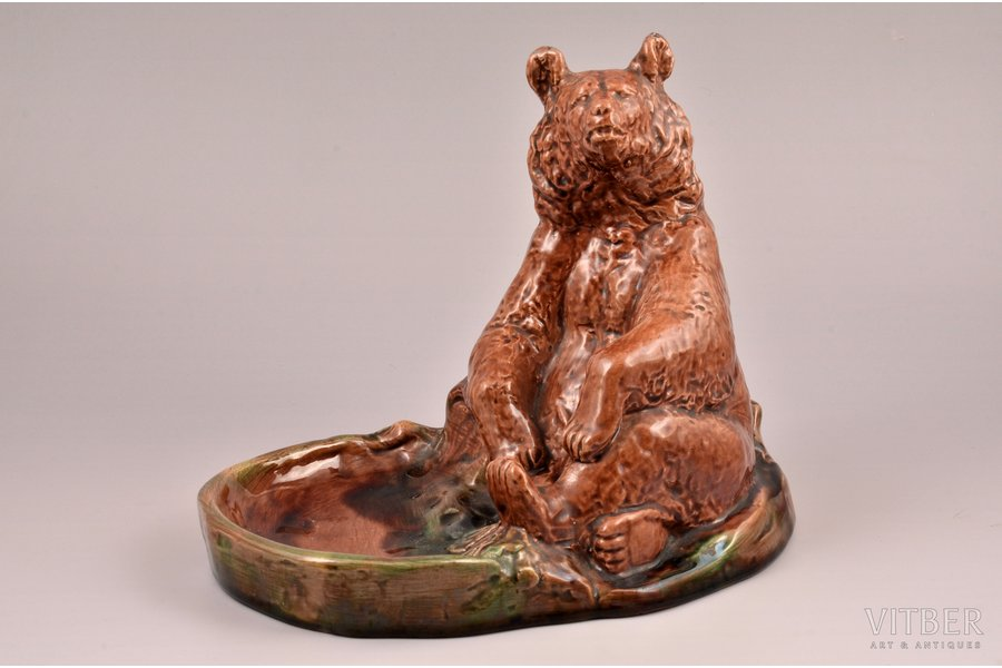 "figurine, Ashtray ""Bear"", porcelain, Gzhel, h 18 cm"