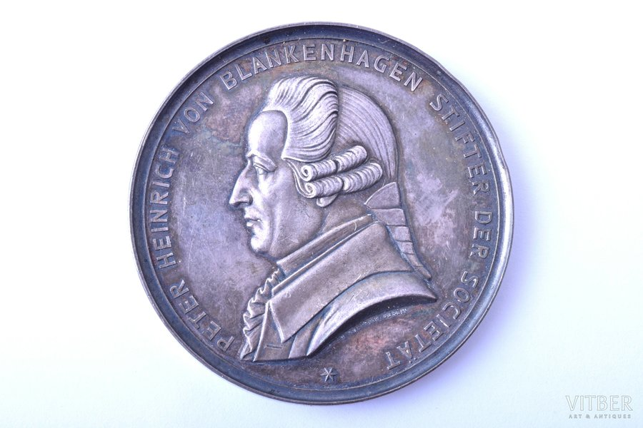 table medal, Peter Heinrich von Blankenhagen, the Imperial Livonian Communal and Economic Society, silver, Latvia, Russia, Ø 51 mm, 56.17 g, W. Kullrich