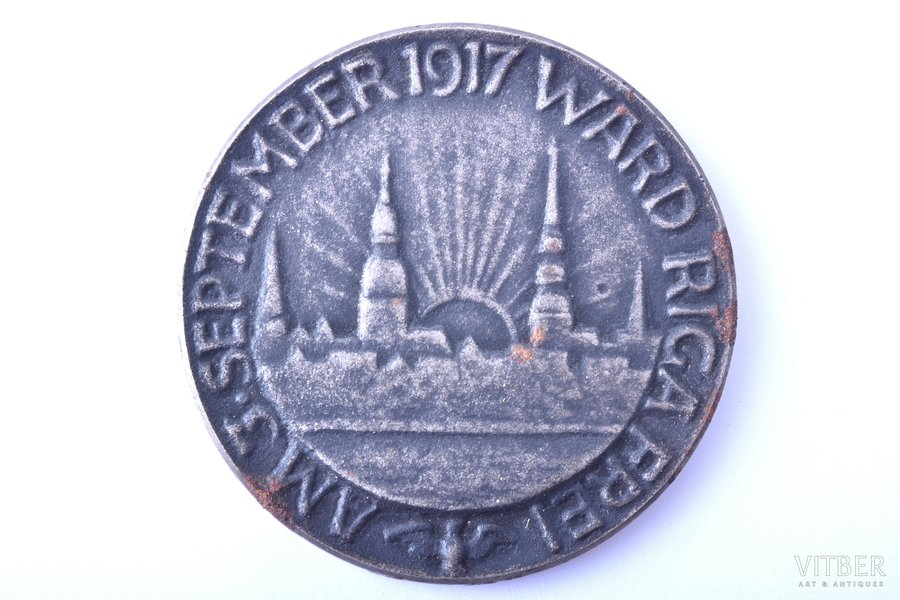 table medal, Am 3. September 1917 ward Riga Frei, iron, Latvia, beginning of 20th cent., Ø 45.5 mm