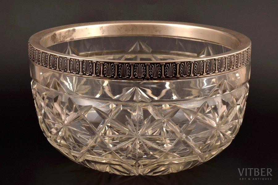 fruit dish, silver, 84 standart, crystal, 1908-1917, St. Petersburg, Russia, Ø 24 cm, h 13.8 cm