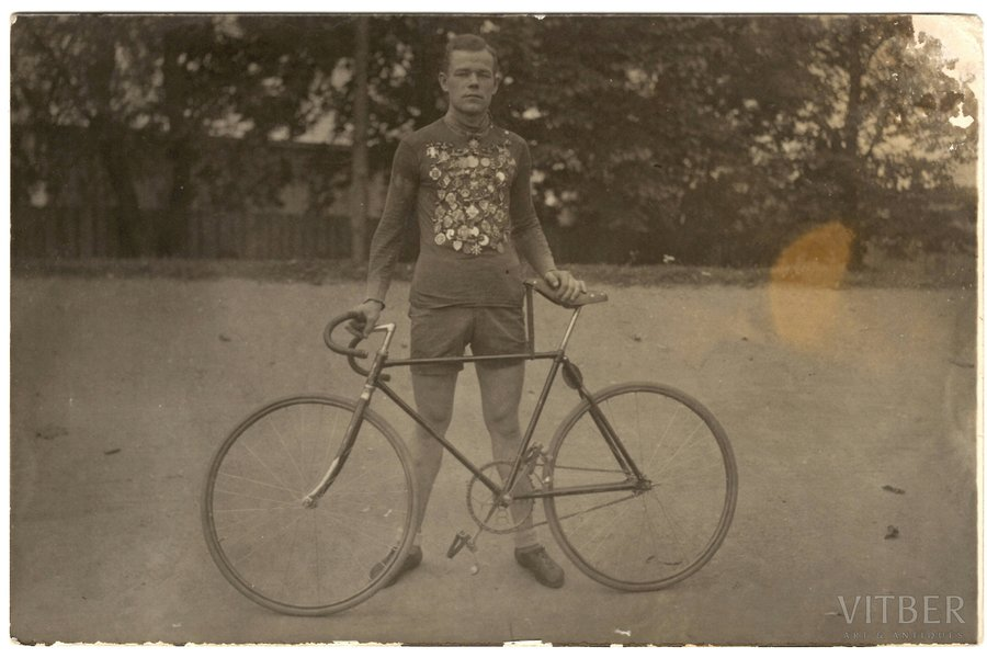 photography, cyclist - athlete with awards, Latvia, 20-30ties of 20th cent., 9 x 14 cm