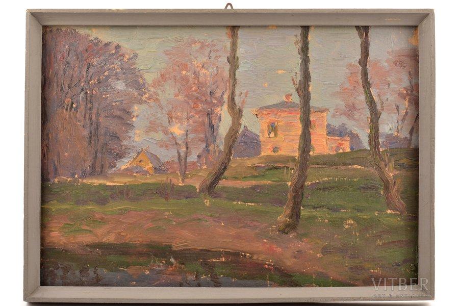 Sudmalis Janis (1887-1984), Landscape, 1954, carton, oil, 21.8 x 31 cm