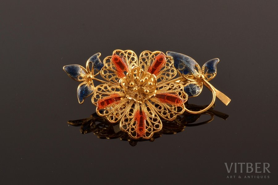 "a brooch, ""Flower"", silver, Plique-a-Jour enamel, filigree, 925 standart, 4.06 g., the item's dimensions 2.6 x 4.8 cm, Italy"