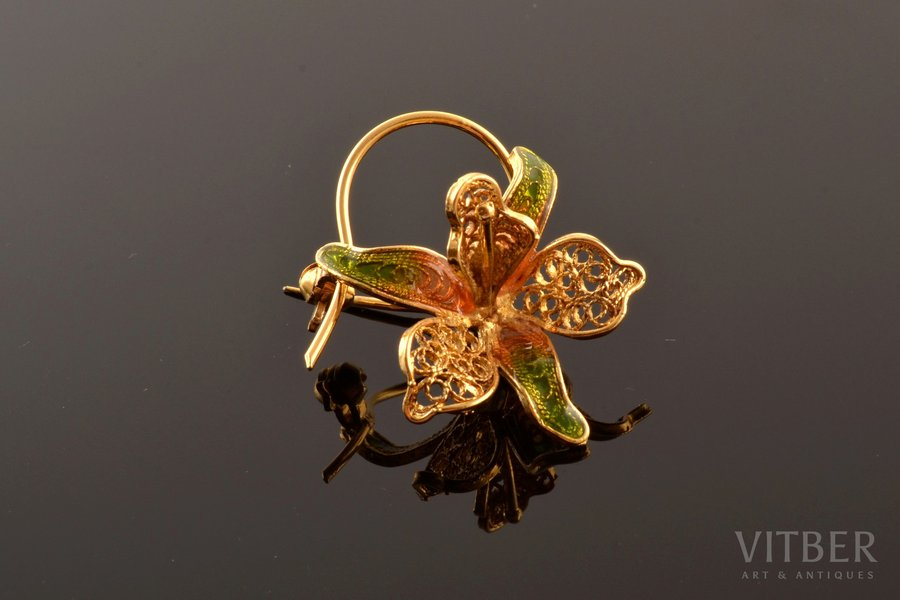"""a brooch, """"Orchid"""", silver, Plique-a-Jour enamel, filigree, 925 standart, 4.02 g., the item's dimensions 3.3 x 2.7 cm, Italy"""