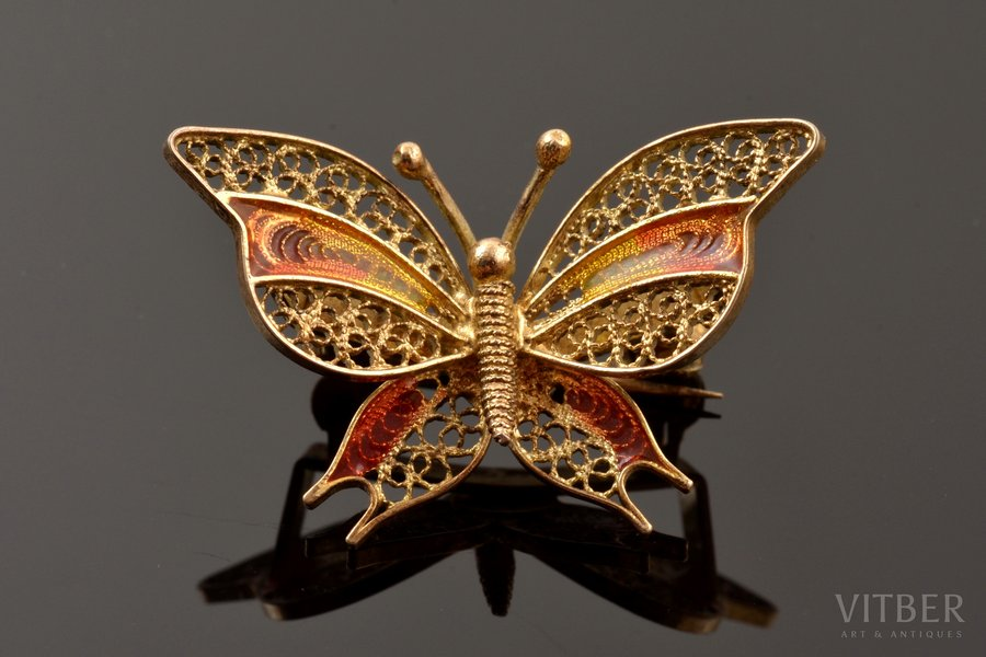 "a brooch, ""Butterfly"", silver, Plique-a-Jour enamel, filigree, 800 standart, 3.38 g., the item's dimensions 1.9 x 3.1 cm, Italy"