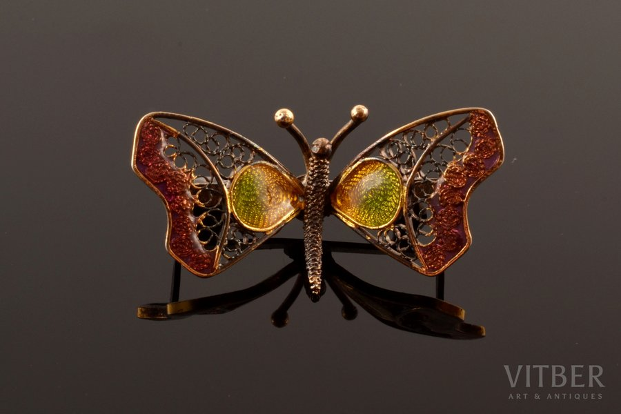 "a brooch, ""Butterfly"", silver, Plique-a-Jour enamel, filigree, 925 standart, 4.04 g., the item's dimensions 1.8 x 3.5 cm, Italy"