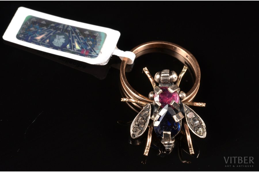 "a ring, ""Fly"", gold, 500 standart, 4.25 g., the size of the ring 17.75, diamond, ruby, sapphire"