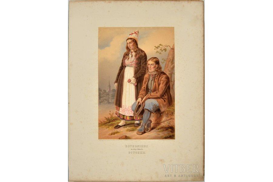 """""""Russian Ethnicities. Estonians"""" (Esthoniens du village Mikhaelis), 1861, paper, lithograph, 32.4 x 22 cm, lith. par Winckelmann et fils a Berlin"""
