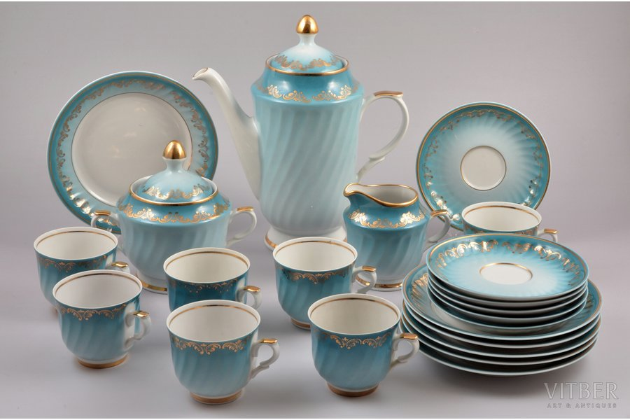 service, for 6 persons - 21 item, porcelain, Rīga porcelain factory, Riga (Latvia), the 80ies of 20th cent., h (cup) 6 cm, Ø (plate) 12.4 / 15.5 cm, h (teapot) 22 cm, first grade, 1 cup - additional