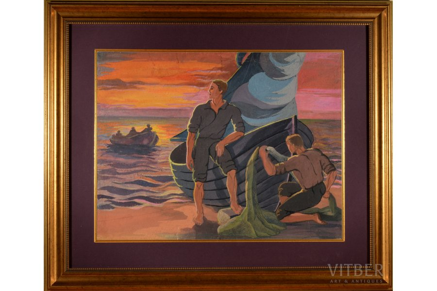 Zhilvinska Jadviga (1918-2010), Fishermen, the 50-60ies of 20th cent., paper, mixed tehnique, 38.5 x 50 cm