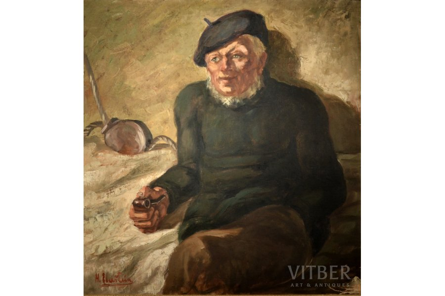 Ebershteins Harijs (1906-1964), Fisherman with a pipe, 1930-ые, canvas, oil, 80 x 75 cm