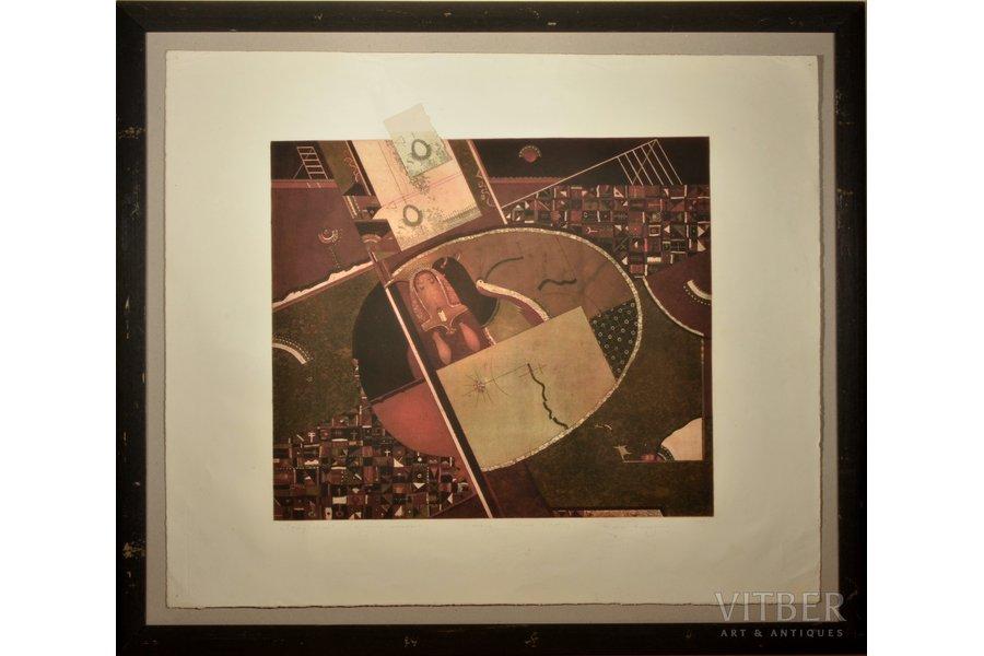 Roman Romanyshyn, Temptation. Diagonal movement, 1995, paper, mixed tehnique, 46 x 53 cm