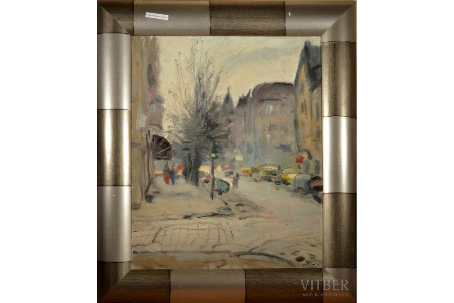 Ilibayev Vladimir Ilyich (1952-), Autumn in the city. November, 1996, carton, oil, 65 x 54 cm