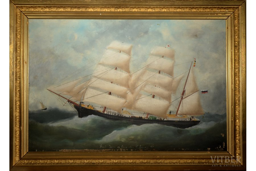 """Ship """"Japan"""", made by order of Captain P. Laivins, 1891, canvas, oil, 62.5 x 92 cm"""