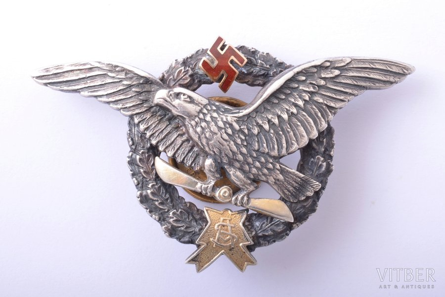 badge, Military Aviation School, silver, gold, Latvia, 20-30ies of 20th cent., 42.7 x 70.3 mm, 30.30 g