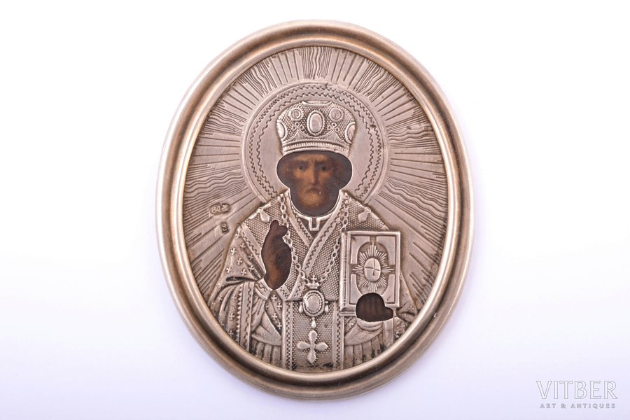 """icon, Saint Nicholas the Miracle-Worker, with dedicatory inscription """"...to comrade N.N. Zhegalov from the commander and officers of the Ust-Dvinsk fortress infantry battalion, July 3, 1900"""", silver, painting, 84 standart, by Grigoriy Sbitnev, Russia, 1900, 7.2 x 6 x 0.3 cm, 50.10 g."""