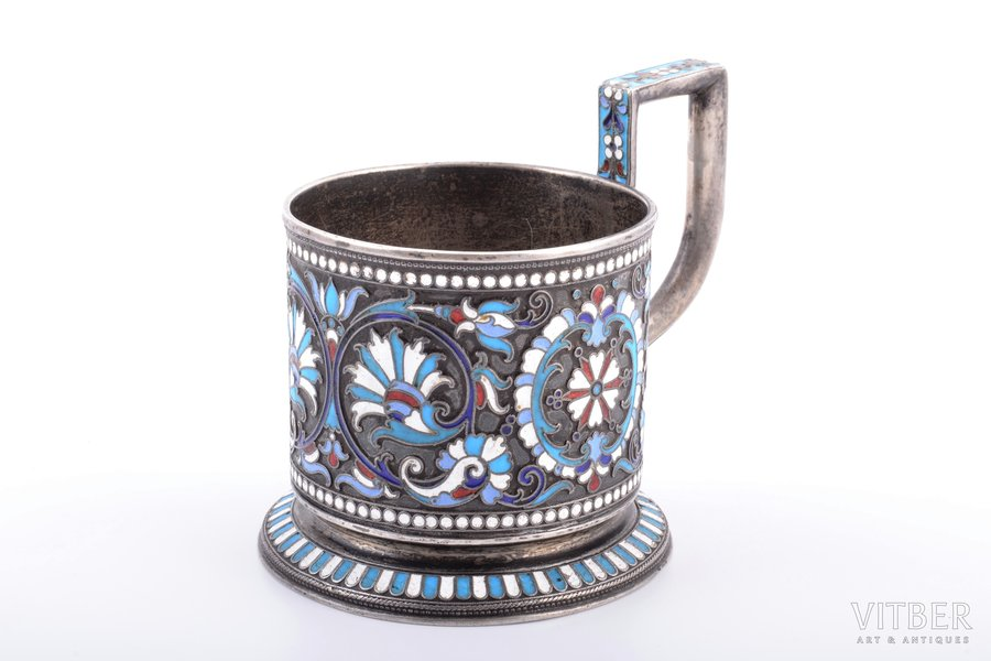 tea glass-holder, silver, 84 standart, cloisonne enamel, 1896-1907, 196.15 g, Moscow, Russia, h (with handle) 8.8 cm, Ø (inside) 6.8 cm