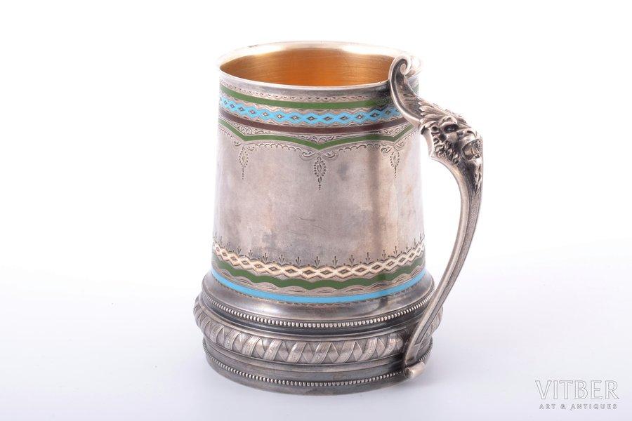 bear mug, silver, 84 standart, engraving, gilding, champleve enamel, 1880-1899, 311.20 g, P. Milyukov workshop, Moscow, Russia, h 11.4 cm, small enamel chips