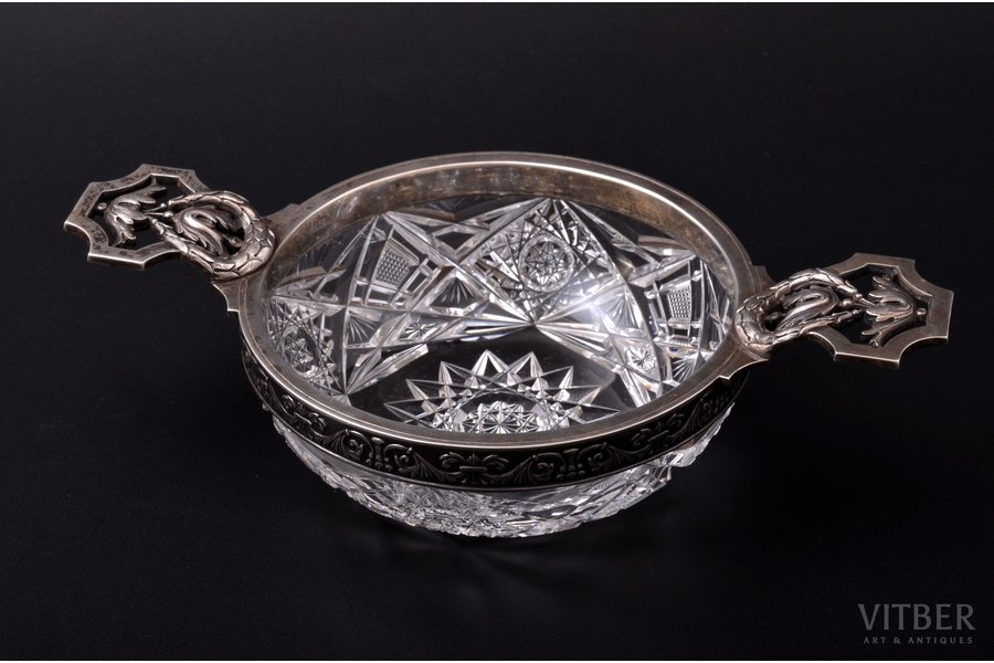 """candy-bowl, silver, 84 standart, crystal, 1908-1917, """"Fabergé"""", Moscow, Russia, 21.5 x 12.5 cm, h 5.5 cm"""