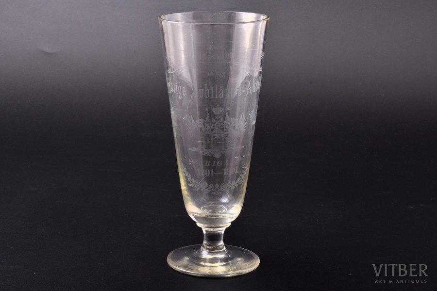 """wine glass, 700th anniversary of Riga, """"Zum andenken and die 700-jährige Jubiläums-Ausstellung, Riga 1201-1901"""", Latvia, Russia, h 17.2 cm"""
