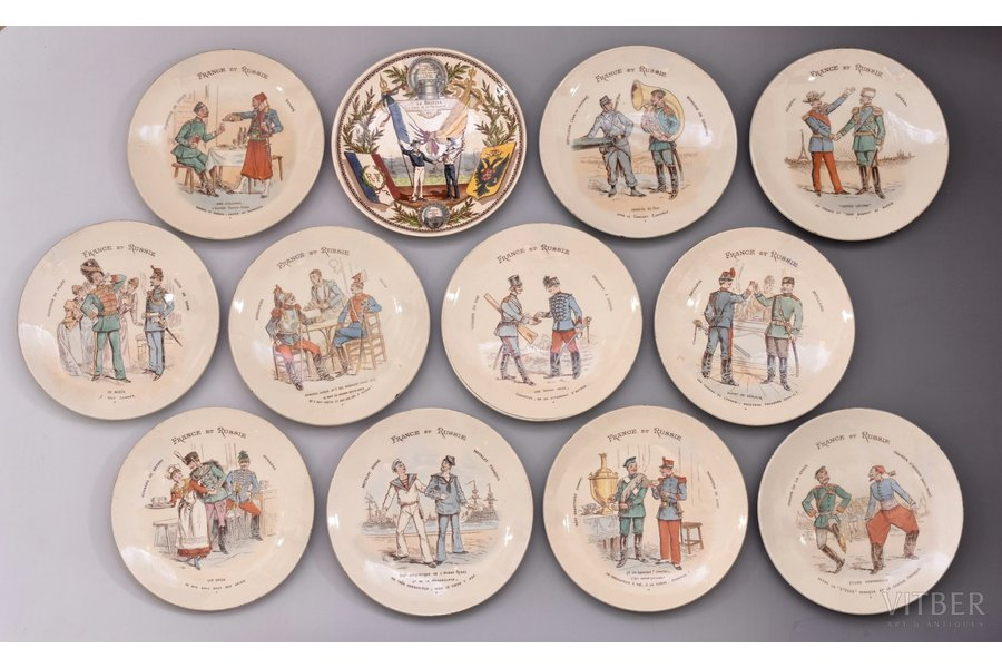 "set of 12 decorative plates, ""Franco-Russian Alliance"", faience, France, the border of the 19th and the 20th centuries, Ø 21.6 - 22.1 cm, one of the plates with defect on the bottom side"