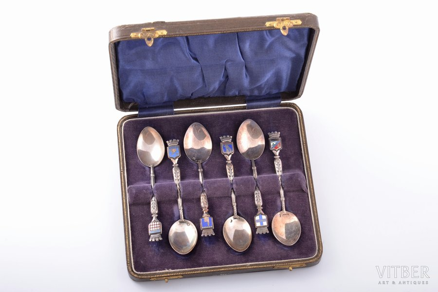 set of coffee spoons, silver, 800 standart, 6 pcs., with coats of arms of French cities, enamel, 87.70 g, France, 10.5 cm, in a box, on one of spoons with enamel chip