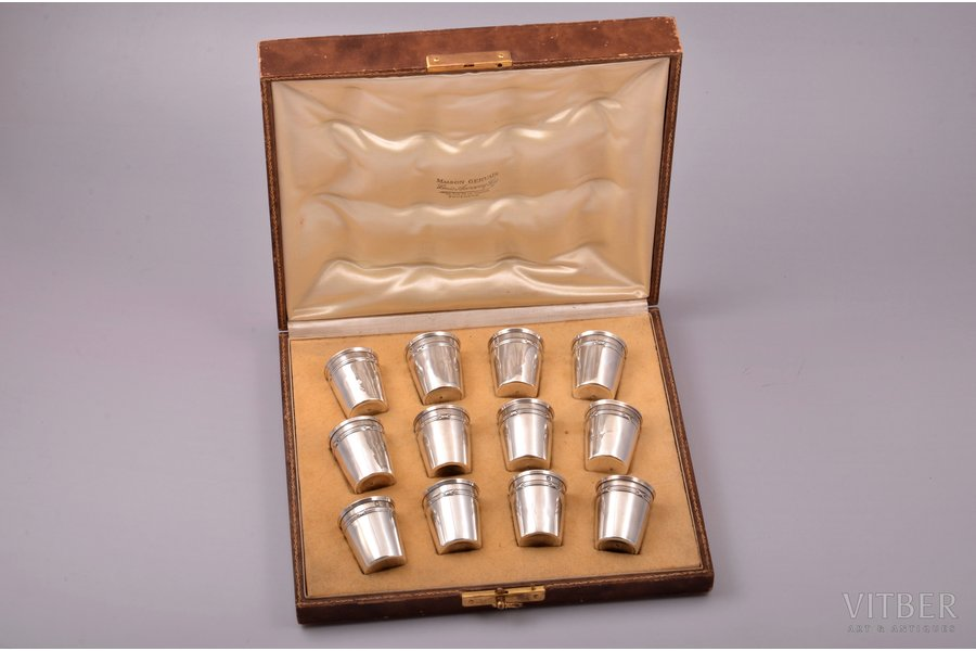 set of 12 beakers, silver, 950 standart, gilding, 112.50 g, France, h 3.9 cm, in a box, some of beakers with small dents