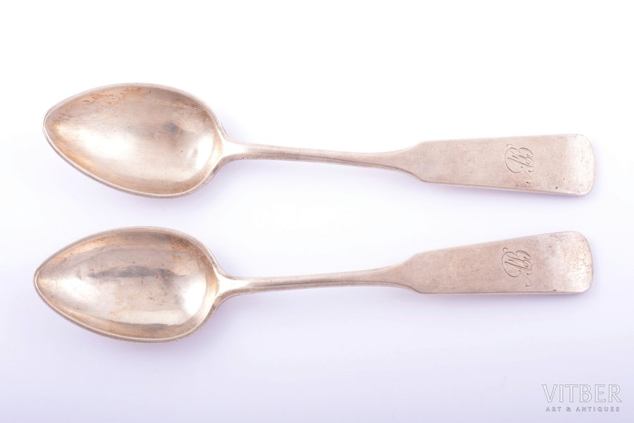 pair of teaspoons, silver, 84...