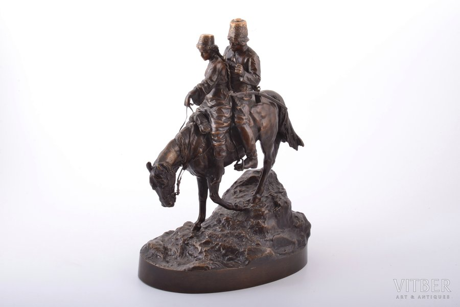 """sculpture, """"Cossack couple on horseback"""", by Albert Moritz Volf (1854‑1923), bronze, h 29.6 cm, weight 5350 g., Russia, the end of the 19th century"""