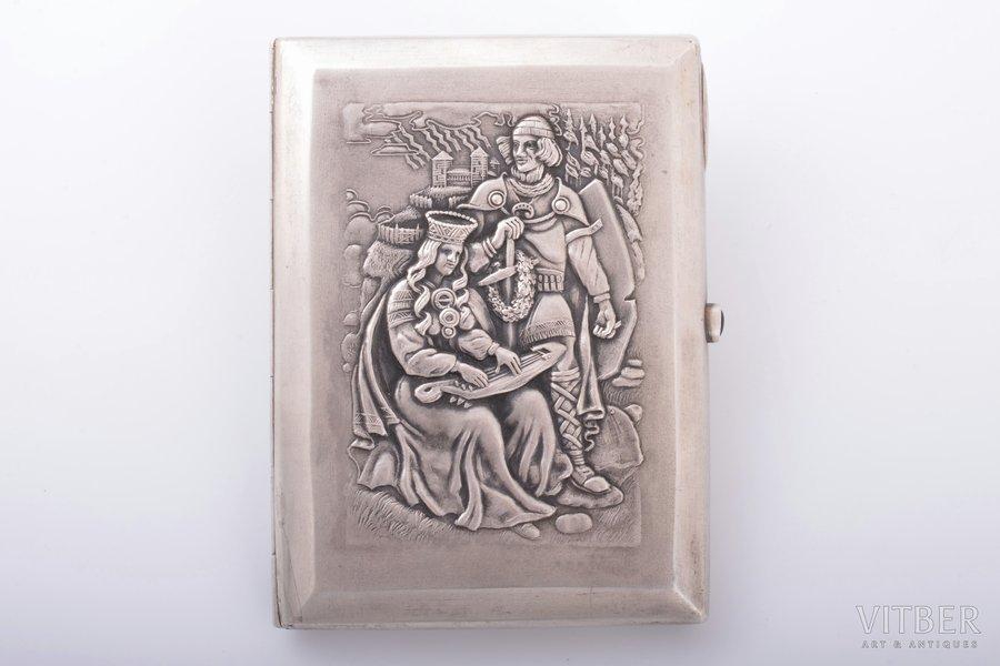 портсигар, народный мотив, серебро, 875 проба, золочение, 30-е годы 20го века, 127.90 г, мастер Людвиг Розенталь, Латвия, 10.8 x 8.3 x 1.6 см