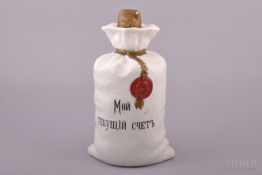"carafe, ""Money bag"", company ""Beckman and Co"", St. Petersburg, porcelain, Russia, h 20.5 cm, hairline crack"