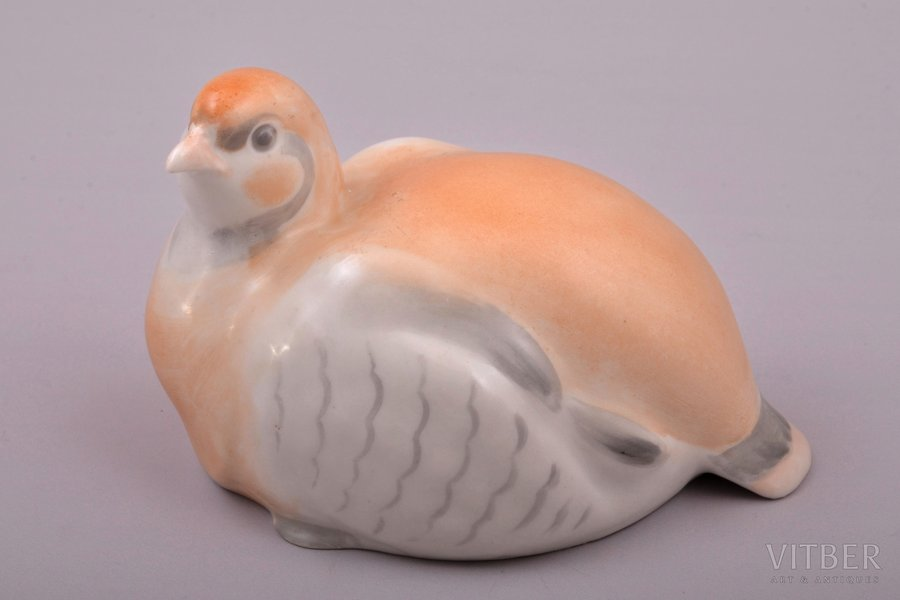 figurine, Partridge, porcelain, Riga (Latvia), USSR, Riga porcelain factory, molder - Peter Veselov, the 50ies of 20th cent., 11.1 x 7.5 x 7.1 cm, first grade