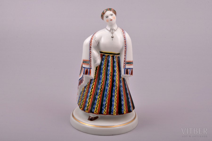 figurine, Girl in traditional costume, porcelain, Riga (Latvia), J.K.Jessen manufactory, hand-painted, 1933-1935, 14.8 cm, insignificant chip restoration at the base