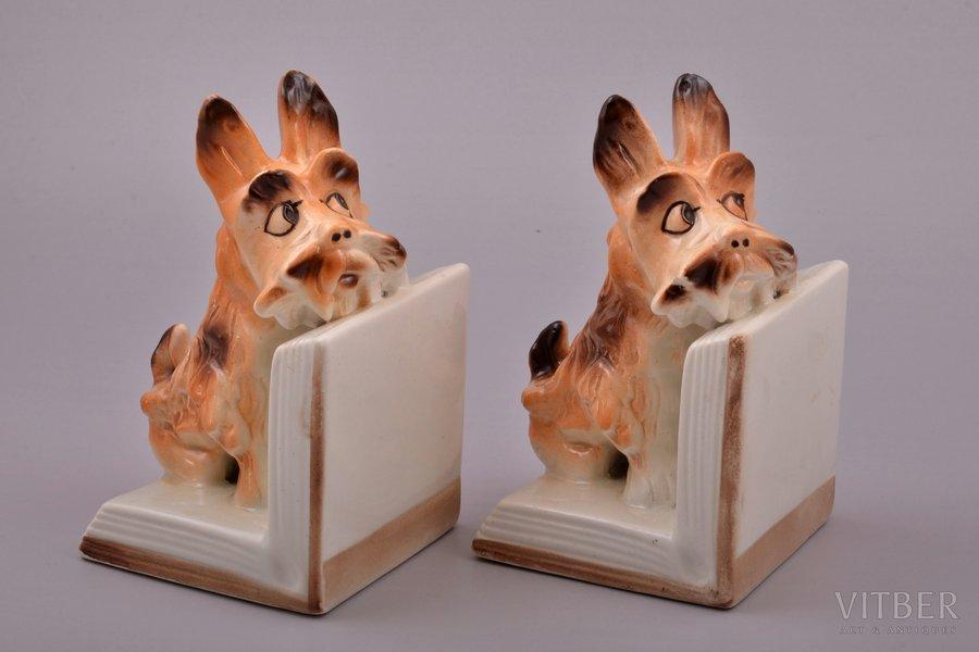 "figurines - bookends ""Dogs"", faience, Riga (Latvia), Riga Ceramics Factory, 1940-1941, 15.4 cm"