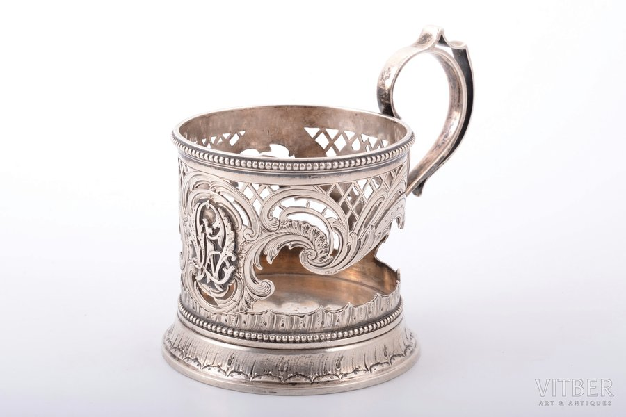 tea glass-holder, silver, 84 standart, engraving, 1898-1904, 176 g, Vladimir Ivanovich Morozov's company, by Bobyr N.M.(?), St. Petersburg, Russia, h (with handle) 9.6 cm, Ø (inside) 6.8 cm