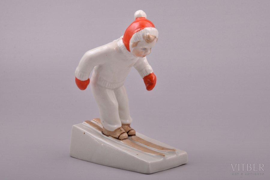 figurine, Skier, porcelain, Riga (Latvia), USSR, Riga porcelain factory, molder - Leja Novozeneca, the 50ies of 20th cent., 12.9 cm, first grade