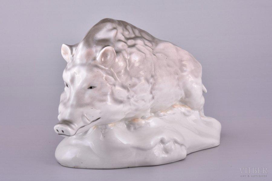 figurine, Wild boar, porcelain, Riga (Latvia), USSR, Riga porcelain factory, the 50ies of 20th cent., h 13.4 cm, first grade