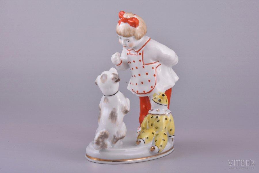figurine, Girl with a dog, porcelain, Riga (Latvia), USSR, Riga porcelain factory, molder - S. Bolzan-Golumbovskaja, 1968-1980, 14.7 cm, top grade