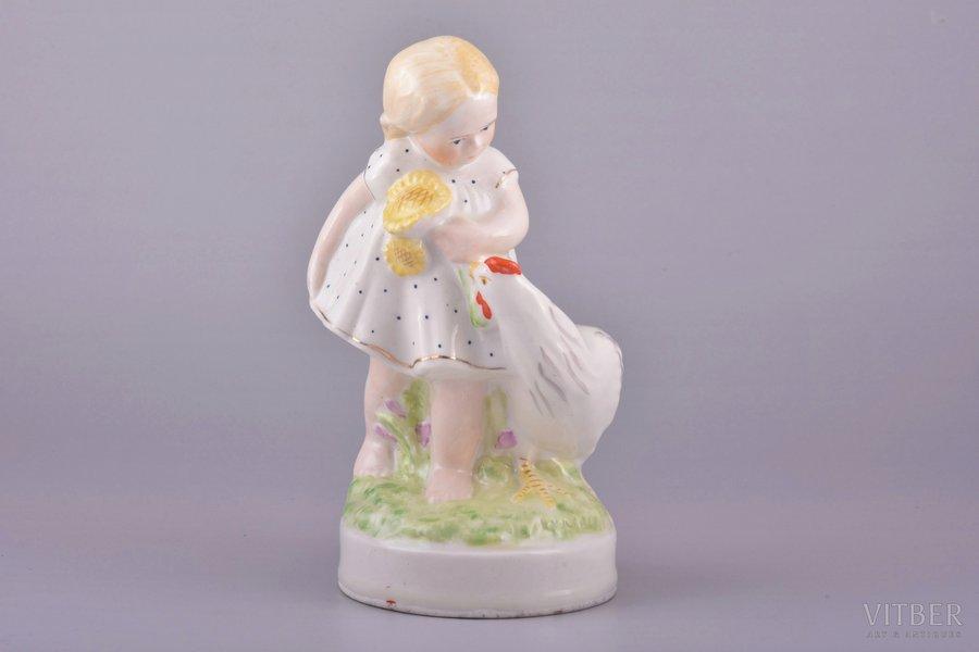 "figurine, A girl with a chicken (""Sunflower""), porcelain, Riga (Latvia), USSR, Riga porcelain factory, molder - Beatrice Karklina, the 50ies of 20th cent., 15.6 cm, first grade"