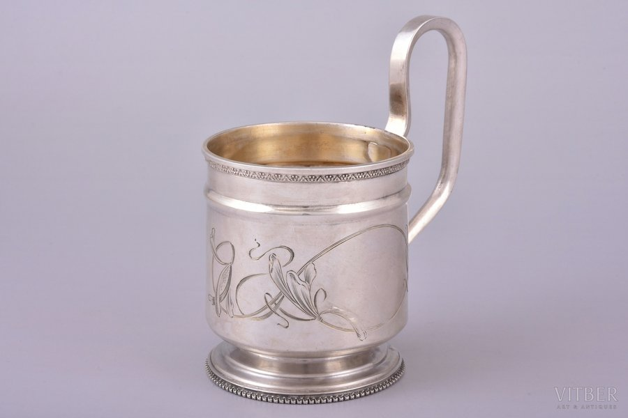 tea glass-holder, silver, 84 standart, engraving, 1908-1917, 121.10 g, Moscow, Russia, h (with handle) 11.3 cm, Ø (inside) 6.3 cm, defect at the base of the handle, and on the base of glass-holder