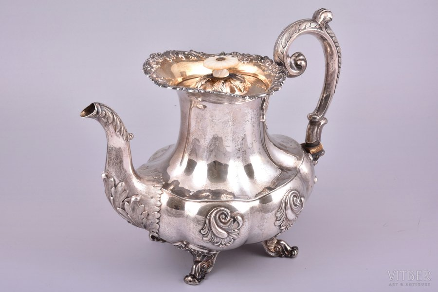 teapot, silver, 84 standart, gilding, 184?, total weight of item 928.50g, Russia, h 21.9 cm