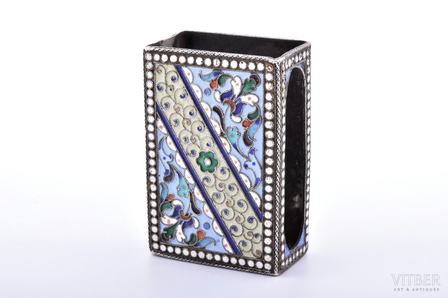 matches' holder, silver, 84 standart, cloisonne enamel, 1908-1917, 52.75 g, Moscow, Russia, 6.2 x 4.2 x 2.5 cm