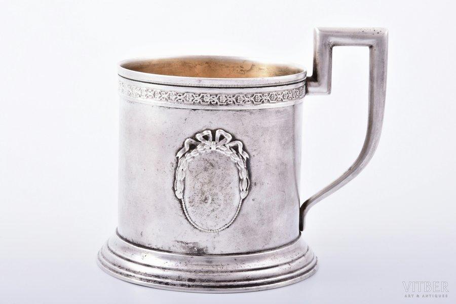 tea glass-holder, silver, 875 standart, the 20-30ties of 20th cent., 112.70 g, by Johannes Nömman, Estonia, h (with handle) 9.3 cm, Ø (inside) 7 cm