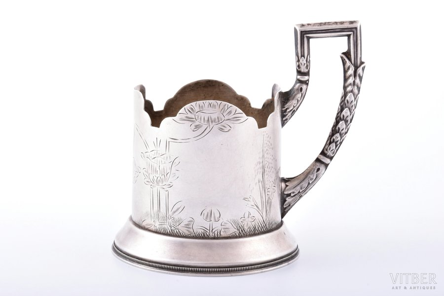 tea glass-holder, silver, 84 standart, engraving, 1908-1917, 109.15 g, Prikashchikov Justin (Ustin) Vasilyevich's factory, Moscow, Russia, h (with handle) 10 cm, Ø (inside) 6.4 cm