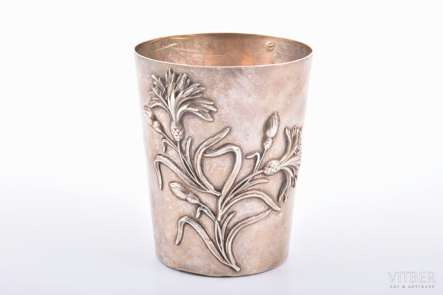 goblet, silver, 950 standart, floral motif, 99.40 g, France, h 8.4 cm