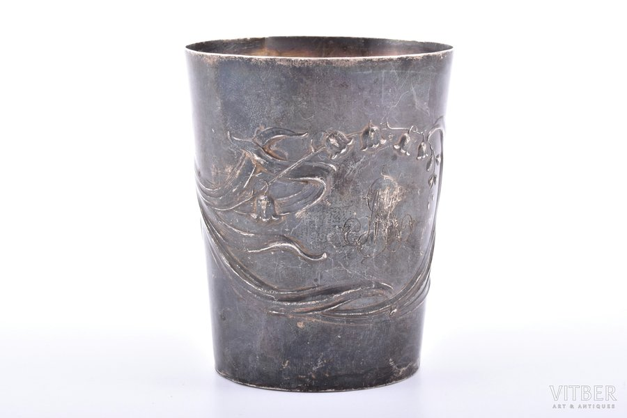 стакан, серебро, 950 проба, растительный мотив, 97.85 г, Франция, h 8 см