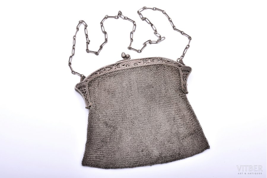 an evening bag, silver, with two compartments, Art-Nouveau, chainmail, 380.60 g, 17.5 x 20 cm
