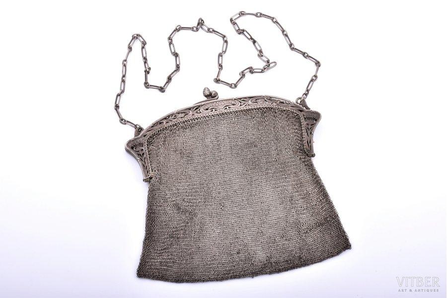 teātra somiņa, sudrabs, ar diviem nodalījumiem, jūgendstils, pinums, 380.60 g, 17.5 x 20 cm