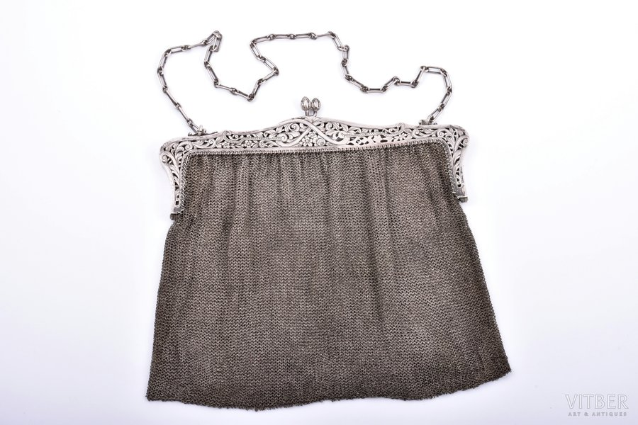 an evening bag, silver, 800 standart, chainmail, 343.80 g, France, 19 x 21.5 cm