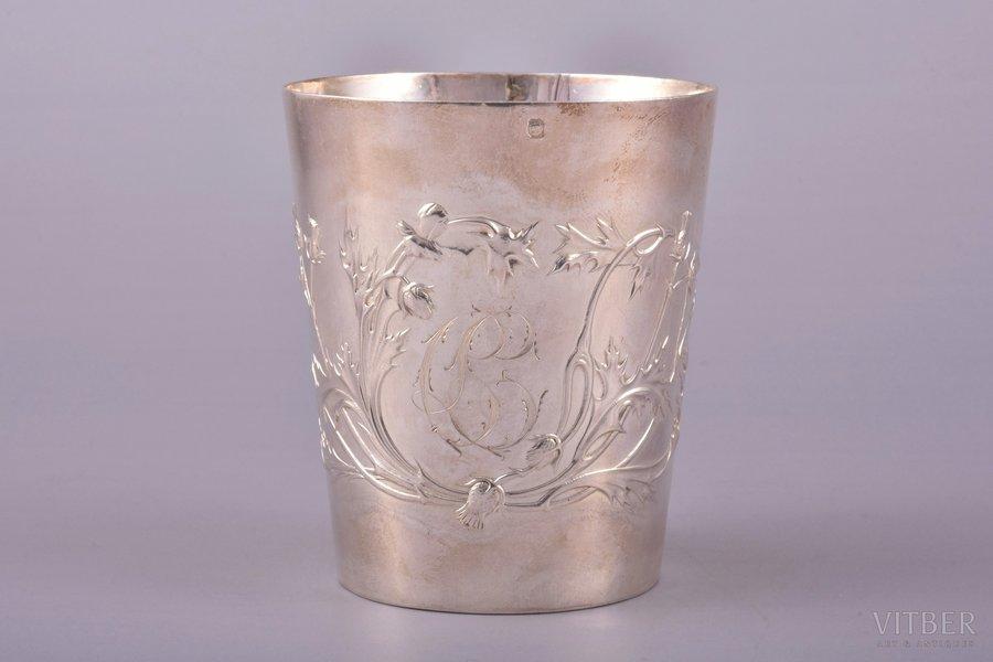 goblet, silver, 950 standart, floral motif, 100.15 g, France, h 7.9 cm